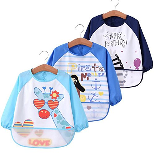 Toddler Baby Waterproof Sleeved Bib, Bib with Sleeves&Pocket, 6-36 Months,Set of 3 Soft Material