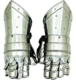 Benzara Metal Armour Hand Gloves Pair With Inviting Decor Appeal