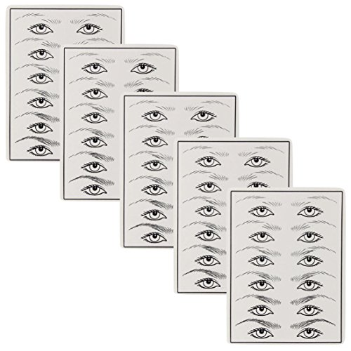 DZT1968 1/5/10PC Permanent Cosmetic Eye Eyebrow Makeup Practice Skin Sheet Tattoo White (5PC)