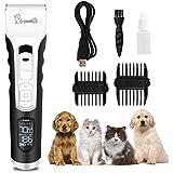 Cortapelos para Perro,Profesional Perros y Mascotas 4 Horas Uso Continuo, 5 Velocidades Ajustable Gatos Pantalla LED con Cable USB