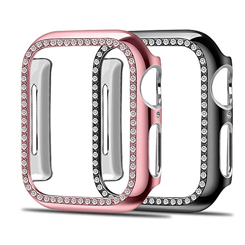 (Simpeak Compatible for Apple Watch 4, Fashion Bling Rhinestone, Slim Scratch Resistant Hard PC Back Case Women for Apple Watch Series 2, Series 3 (44mm),Rose)