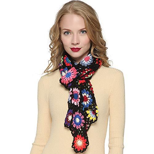 ZORJAR Winter Knitted Fashion Scarf for Women Handmade Crochet Colorful FlowerBlack