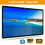 100 inch Projection Screen 16:9 High Contrast Collapsible HD 4K Portable Projector Screen for Home Theater Outdoor Indoor Support Double Sided Projection
