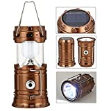 LED Camping Lantern - GAXmi Solar Camping Lantern Rechargeable Emergency Light Portable Collapsible LED Flashlight (Bronze)