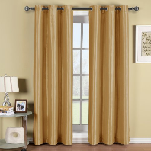 One Gold Elegant and Contemporary SOHO Grommet Top Thermal Insulated Triple-Pass Foam Back Layer Blackout Curtain, 96 Inches Blackout Panel