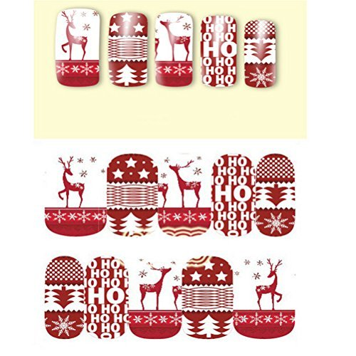 ail Sticker Tree/Deer Nail Art Stickers Snow Nail Decals,10 of Pack ()