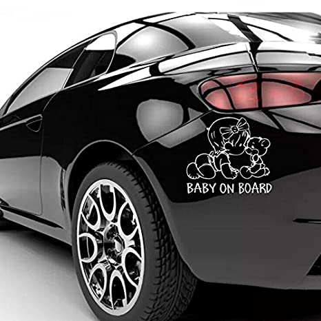 Black BABY ON BOARD With Lovely Teddy Bear Car Auto Safety 3D Reflective Styling Decals Cartoon Vinyl Car Sticker