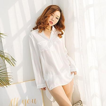Sexy Dormir Mujeres Niñas Blanca Camisa Boyfriend Husband ...