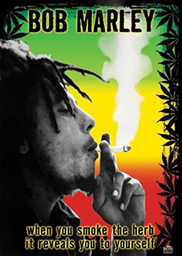 (24x36) Bob Marley Smoke the Herb Quote Music Poster Print ()