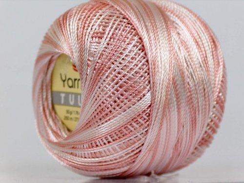 Variegated Antique Pink & White - Yarn Art Tulip Size 10 Microfiber Thread - 50 Gram (White Tulip Variegated)