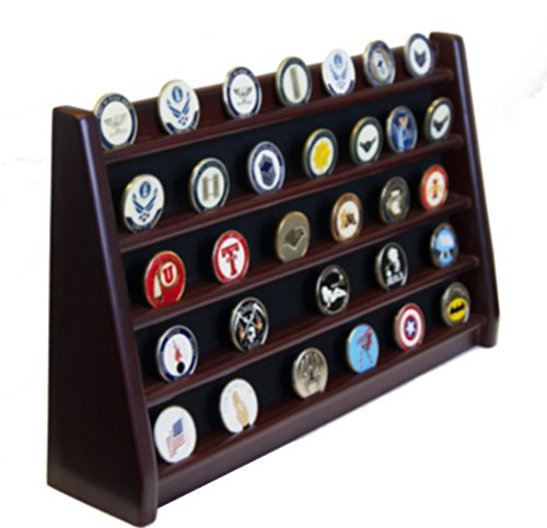 DECOMIL - 5 Rows Shelf Challenge Coin Holder Display Casino (American Cherry Stained Finish)