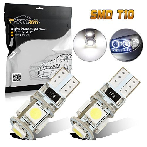Partsam White 5-SMD Error Free Parking Eyelid Lights T10 T15 158 921 175 920 912 2825 2827 LED Bulbs for Mercedes Benz Audi (2PCS)