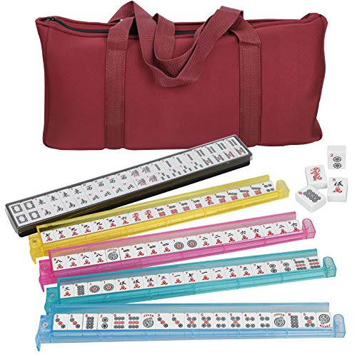 ZENY American Mah Jongg Mahjong Set w/ 4 Color Pushers Racks 166 Tiles Complete Western Mah Jongg Game Set Including 3 Dices Soft Bag