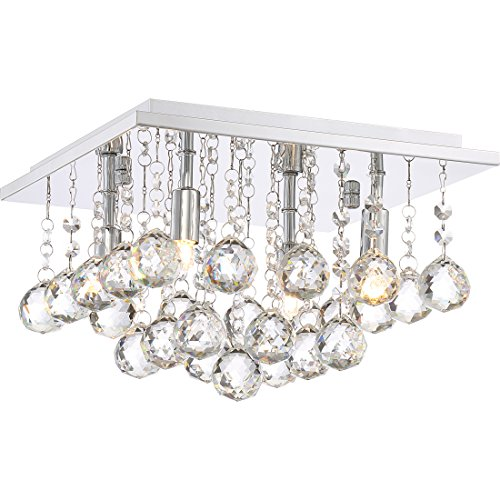Quoizel BRX1611C Bordeaux Crystal Flush Mount Ceiling Lighting, 4-Light, Xenon 160 Watts, Polished Chrome (8