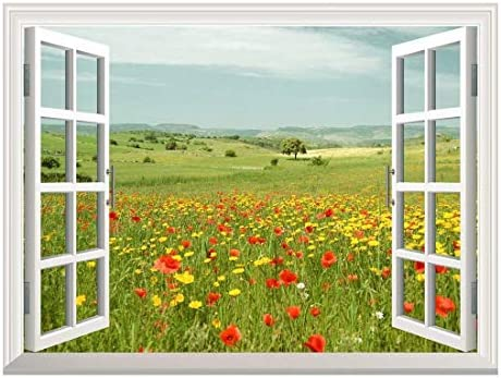Removable Wall Sticker/Wall Mural - Beautiful Spring Field with Wild Flowers | Creative Window View Wall Decor - 24