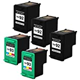Valuetoner Remanufactured Ink Cartridge Replacement For Hewlett Packard HP 92 & HP 93 C9362WN C9361WN (3 Black, 2 Tri-Color) 5 Pack Compatible With Deskjet 5420 5420v 5440 5440v 5440xi 5442 5443 Photosmart 7850 C3100 C3110 C3125 C3135 C3140 C3150 C3170 C3173 C3175 C3180 C3183 C3188 C3190 C3193 C3194 PSC 1507 1510 1510v 1510xi Printer