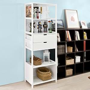 Sobuy armario columna para ba o librer a 4 estantes y 2 for Armario columna de bano