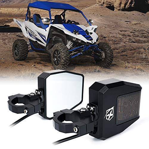 Xprite UTV Rear Side Mirrors with LED Spot Lights and Smoke Lens fit 1.5 Inch to 2.5 Inch Roll Bar Cage for Polaris RZR, ATV, UTV, Side by Side, CAN-AM Maverick X3, Teryx, Yamaha and More Models