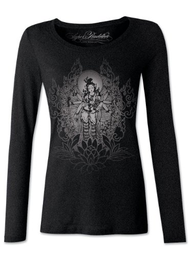 "Price comparison product image Super Buddha Women's ""Fuego Interno"" Long Sleeve Triblend Scoopneck,  Vintage Black,  Large"
