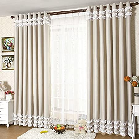 FADFAY Beautiful White Ruffle Blackout Curtains For Living Room 2 Panels