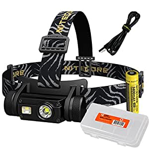 Nitecore HC65 1000 Lumen USB Rechargeable Headlamp with White/Red/High CRI Outputs and Lumen Tactical Battery Organizer