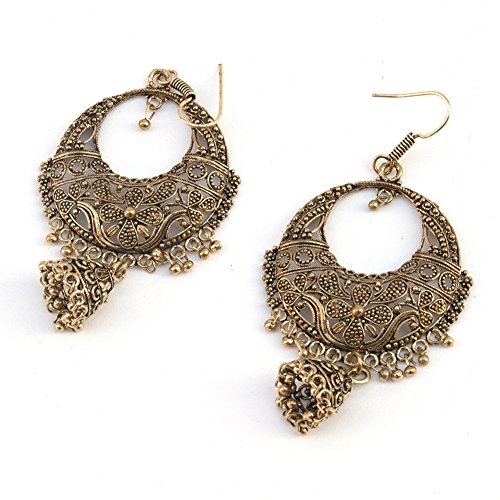 Gypsy Banjara Oxidized Bronze Tone Chandbala Jhumki Chandelier Earring Glass Stones Indian Tribal Style
