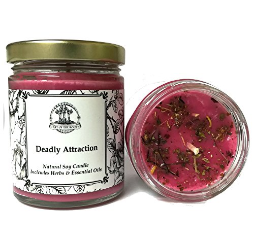 Deadly Attraction 8 oz Soy Herbal Spell Candle Seduction, Passion, Lust & Attraction Hoodoo Wiccan Pagan Conjure - Passion Flower Candle Scent