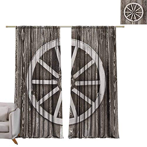 berrly Thermal Insulated Drapes Barn Wood Wagon Wheel,Retro Wheel on Timber Wall Barn House Village Cart Circle, Dark Brown and White W84 x L84 Art Grommet Curtains for Girls Room