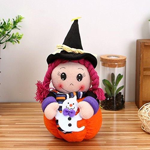 Lanlan Plush Halloween Pumpkin Girl Dolls Novelty Stuffed Toy for Birthday Gift Home Decor Party Holiday Decoration Type C