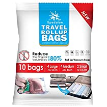 Travel Roll Up Bags - Pack of 10 (Large & Medium) | Roll-Up Compression Storage | Double Zipper, Reusable Space Saver Bags for Home Storage and Packing Organization - No Vacuum PumpNeeded