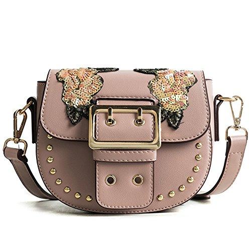 Sequins Wild Black Meaeo Pink Conch Bag Rivet Shoulder With Shell New Bag Handbag tnwqPTv