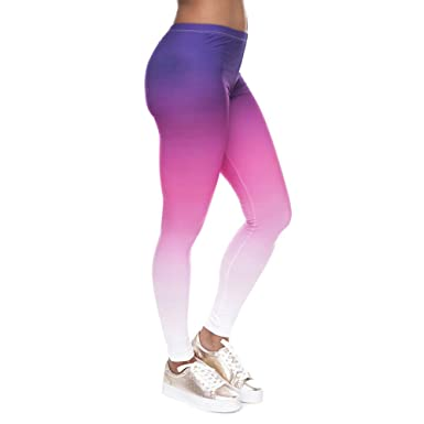 4cf17fe11e6af Women's Sexy Purple-Pink Ombre Leggings Yoga Pants at Amazon Women's ...