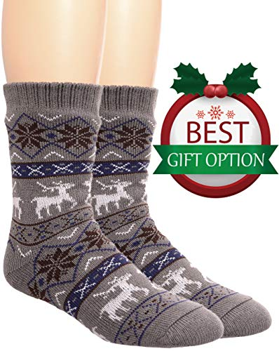 Dot Fuzzy Socks (Mens Fuzzy Slipper Socks Warm Thick Heavy Fleece lined Christmas Stockings Fluffy Winter Socks With Grippers (Light Grey))