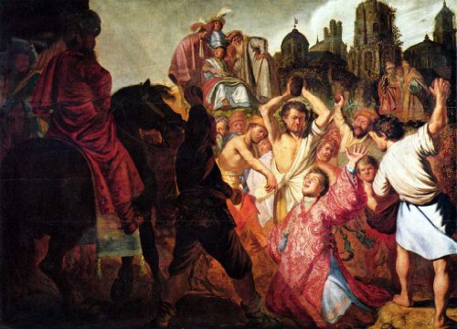 Stoning of Stephen by Rembrandt canvas art print, 16.96 X 12.22