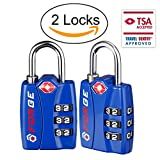 Forge TSA Locks 2 Pack - Open Alert Indicator, Alloy Body and Hardened Steel Shackle with Re-settable 3-Digit Combination
