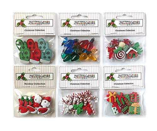 Buttons Galore 50+ Assorted Christmas Buttons for Sewing & Crafts - Set of 6 Button Packs - Candy Canes, Santa, Lights & ()