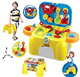 Smartcraft 2 in 1 Carry-on Beach Sand & Water Play Set Toy with Tool Storage Chair