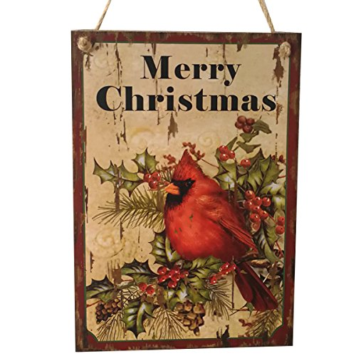 (LUOEM Holiday Christmas Hanging Door Decorations Wooden Wall Sign Decorative Plaque Hanger (Merry Christmas) )