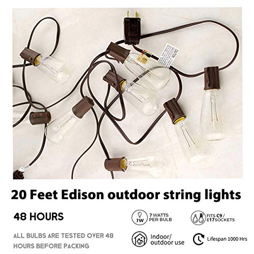 Afirst Outdoor String Lights 20Ft with 20 Edison Bulbs Vintage Bistro String Lights Waterproof UL Listed Patio String Lights for Garden/Backyard Party/Wedding-Brown Cord