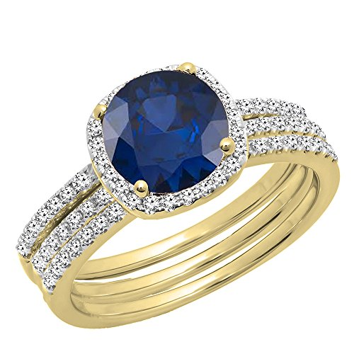 Dazzlingrock Collection 10K 6 MM Round Blue Sapphire & Diamond Ladies Halo Ring With Double Band Set, Yellow Gold, Size 9.5