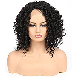 Afro Kinky Curly Lace Front Wigs for Black Women Jerry Curl Short Curly Wigs Synthetic Heat Resistant Fiber Hair Lace Wig