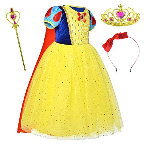 Girls Princess Snow White Costume For Birthday With Accessories 4-5 Years(120cm) ()