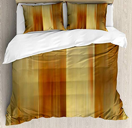 Bruyu5se Earth Tones Duvet Cover Set King Size - Abstract Modern Design with Ombre Inspired Smooth Color Transitions - Decorative 3 Piece Bedding Set with 2 Pillow Shams - Ginger Pale Yellow