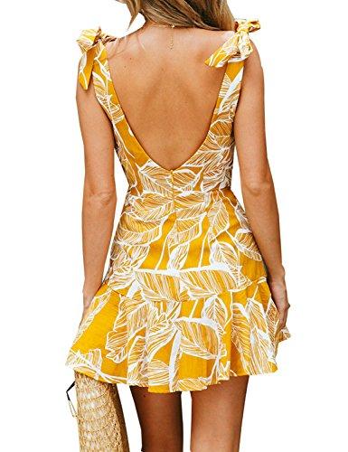 amp;floral Line Backless Sleeveless A Yellow Slip Floral Dress Short Slim Ruffle Mini BMJL Zipped Women's Tie THxZ0T