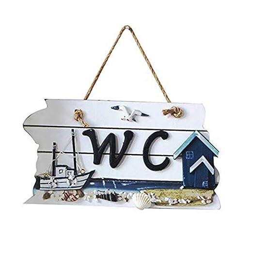 Wicemoon Baño Wc Lista Indicación Para Inodoro Puerta Wc Placa Cartel de Madera Estilo Mediterráneo