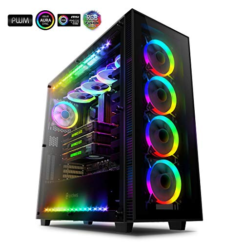 Anidees AI Crystal XL RGB V3 Full Tower Tempered Glass XL-ATX/E-ATX/ATX PC Gaming Case Support 480/360 Radiator, Includes 5 x 120 PWM RGB Fans / 2 x RGB LED Strips - Black AI-CL-XL-AR3 (PC Case ONLY)