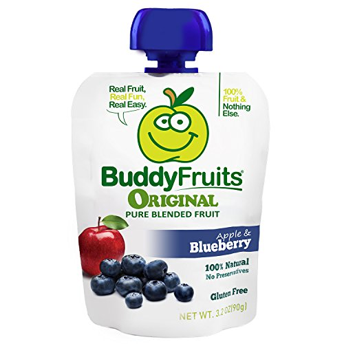 Buddy Fruits Pure Blended Fruit To Go, Blueberry, 3.2 Ounce Packages (Pack of 18)