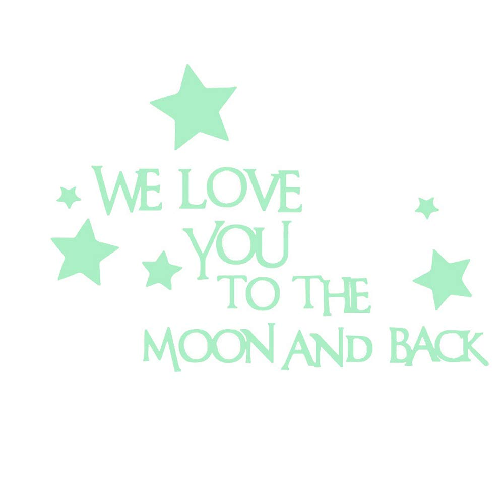 LERTREE Baby Nursery Wall Decal Words Sticker at Night We Love You to The Moon and Back Wall Sticker