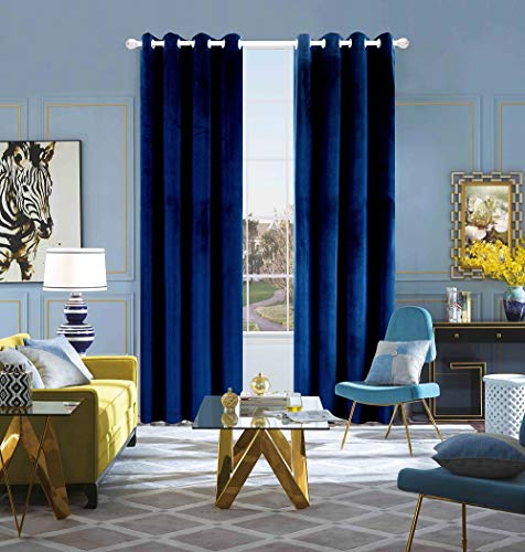 FengChang Velvet Curtains Navy 95 INCH Soft Luxury Blue Window Blackout Curtains Drapes Grommet 2 Panels (Navy, W52