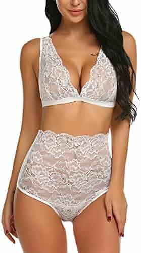 681ba01fdcf Avidlove Women s Lace Lingerie High Waist Bra and Panty Set Strappy Babydoll  Bodysuit